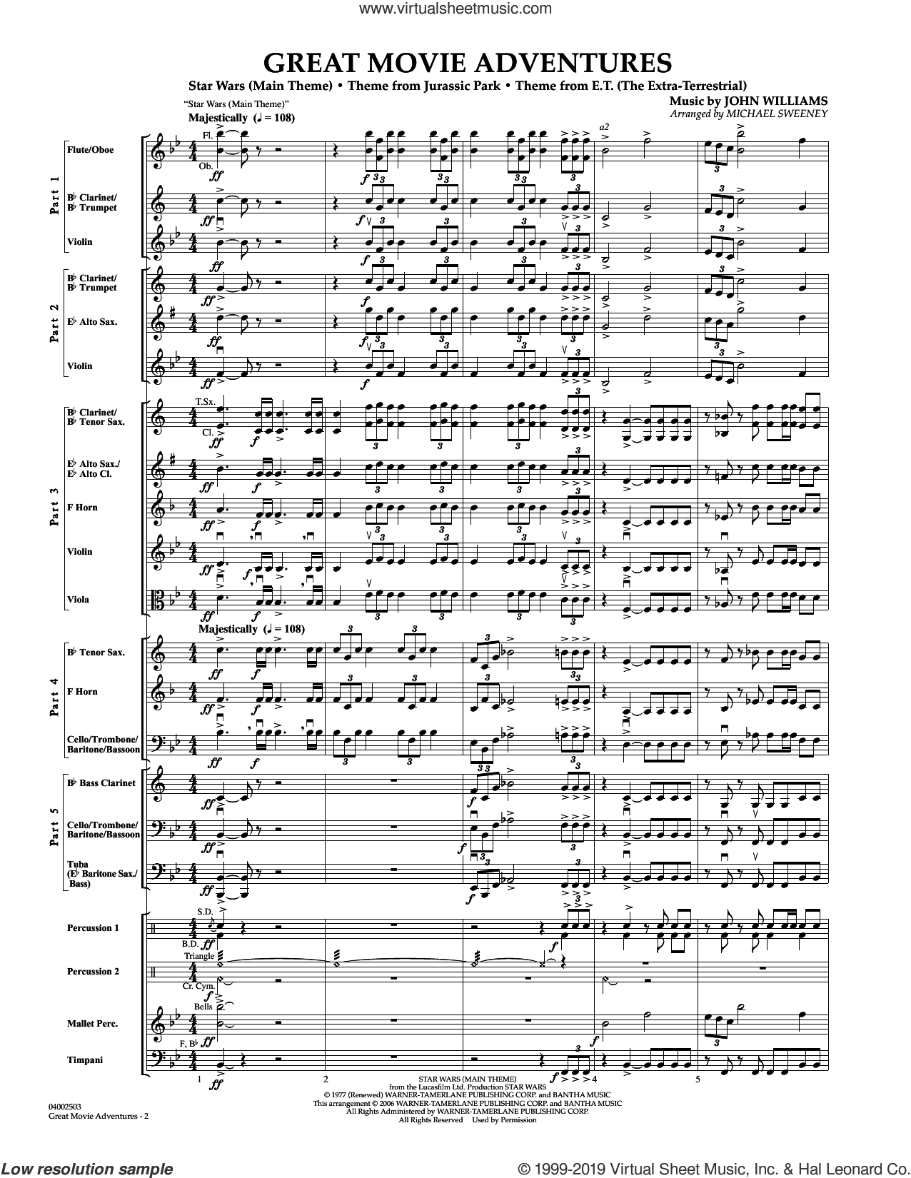 Great Movie Adventures (Flex-Band) (COMPLETE) sheet music for concert band by John Williams and Michael Sweeney, classical score, intermediate skill level