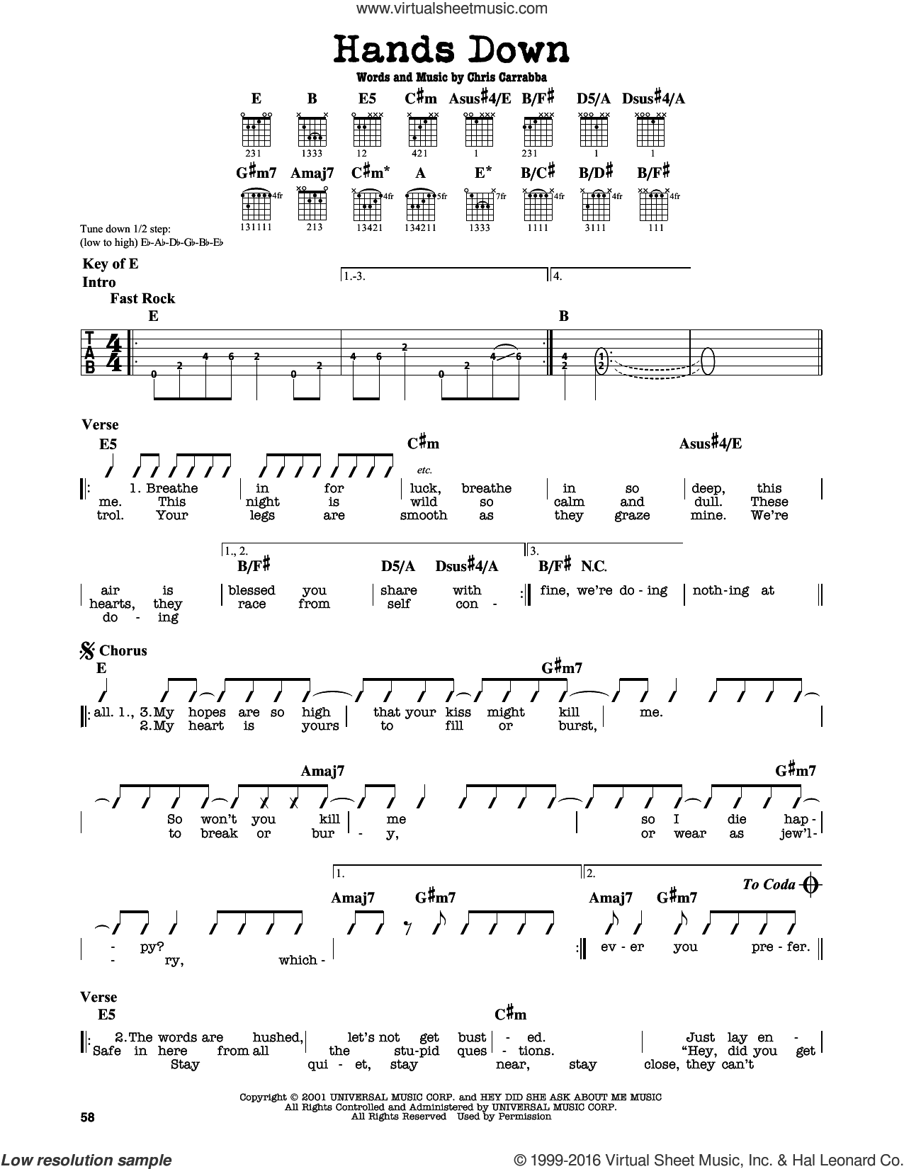 Hands Down sheet music for guitar solo (lead sheet) by Dashboard Confessional and Chris Carrabba, intermediate guitar (lead sheet)