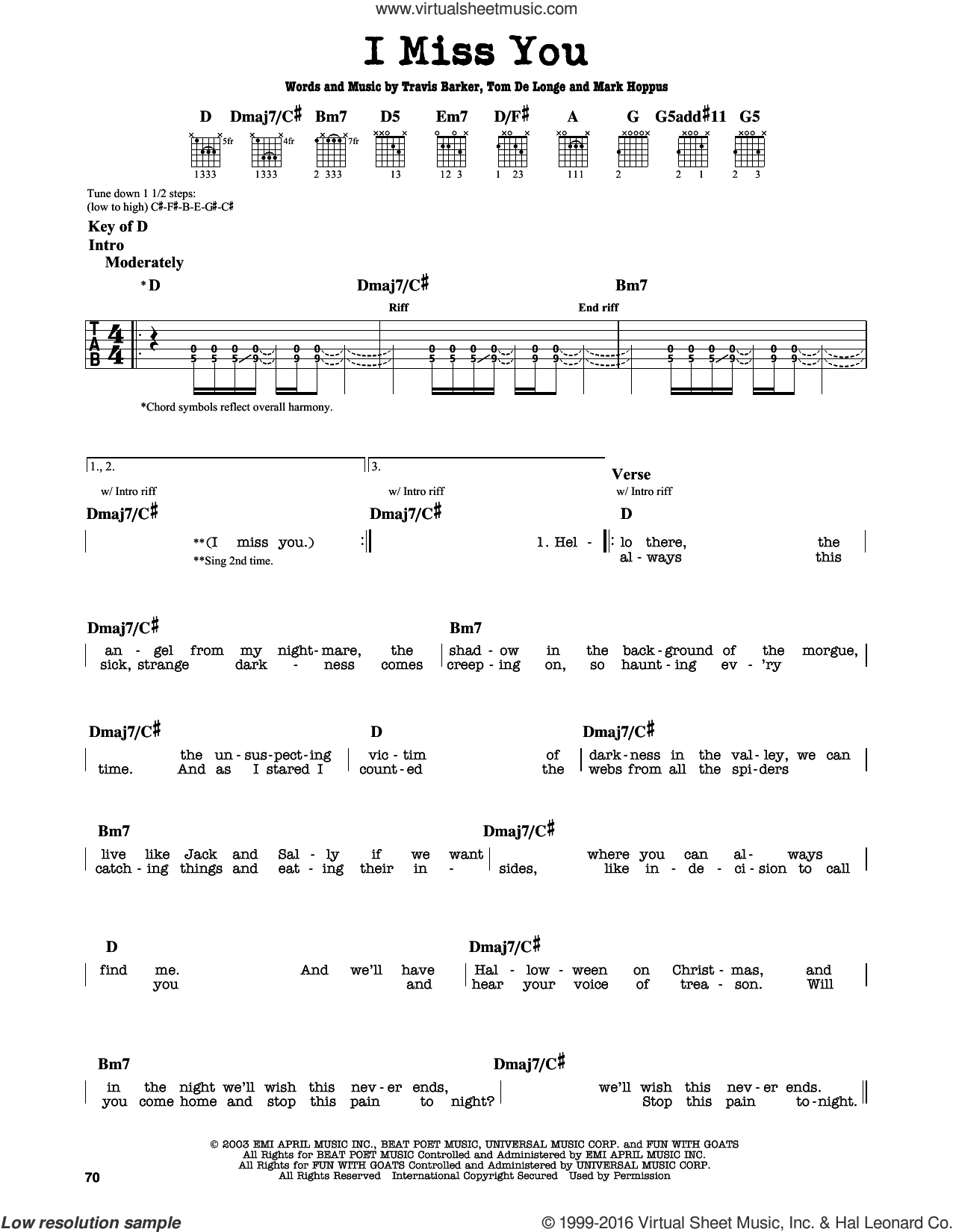 I Miss You sheet music for guitar solo (lead sheet) by Travis Barker, Blink-182, Mark Hoppus and Tom DeLonge. Score Image Preview.