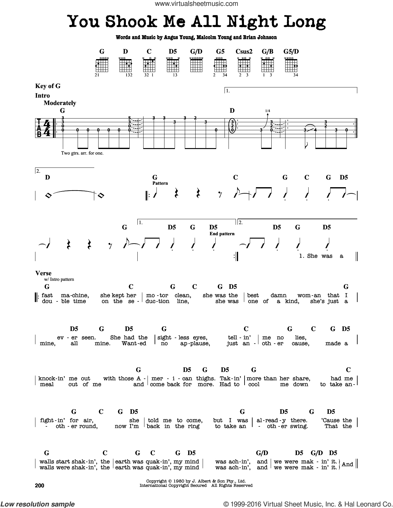You Shook Me All Night Long sheet music for guitar solo (lead sheet) by AC/DC, Big & Rich, Angus Young, Brian Johnson and Malcolm Young, intermediate guitar (lead sheet)