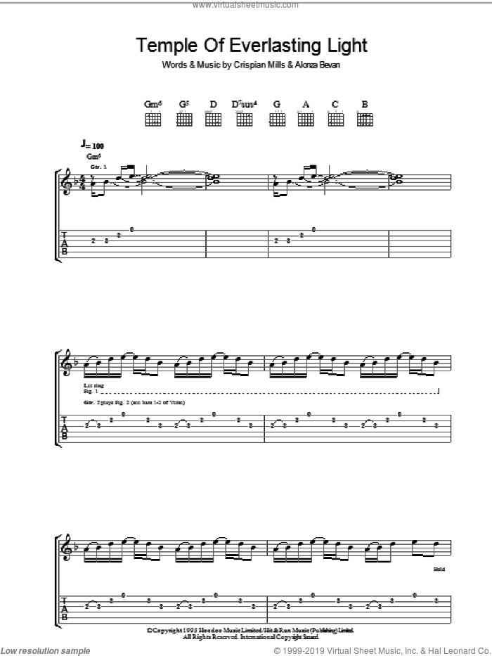 Temple Of Everlasting Light sheet music for guitar (tablature) by Kula Shaker, Alonza Bevan and Crispian Mills, intermediate skill level