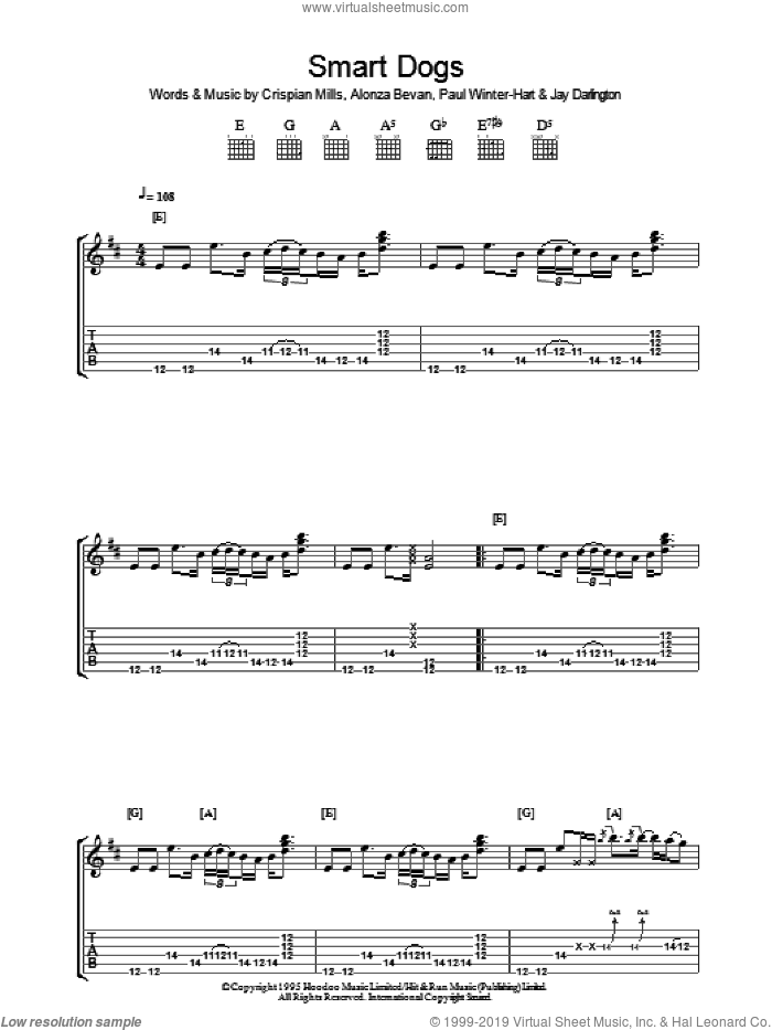 Smart Dogs sheet music for guitar (tablature) by Paul Winter-Hart, Kula Shaker, Alonza Bevan and Crispian Mills. Score Image Preview.