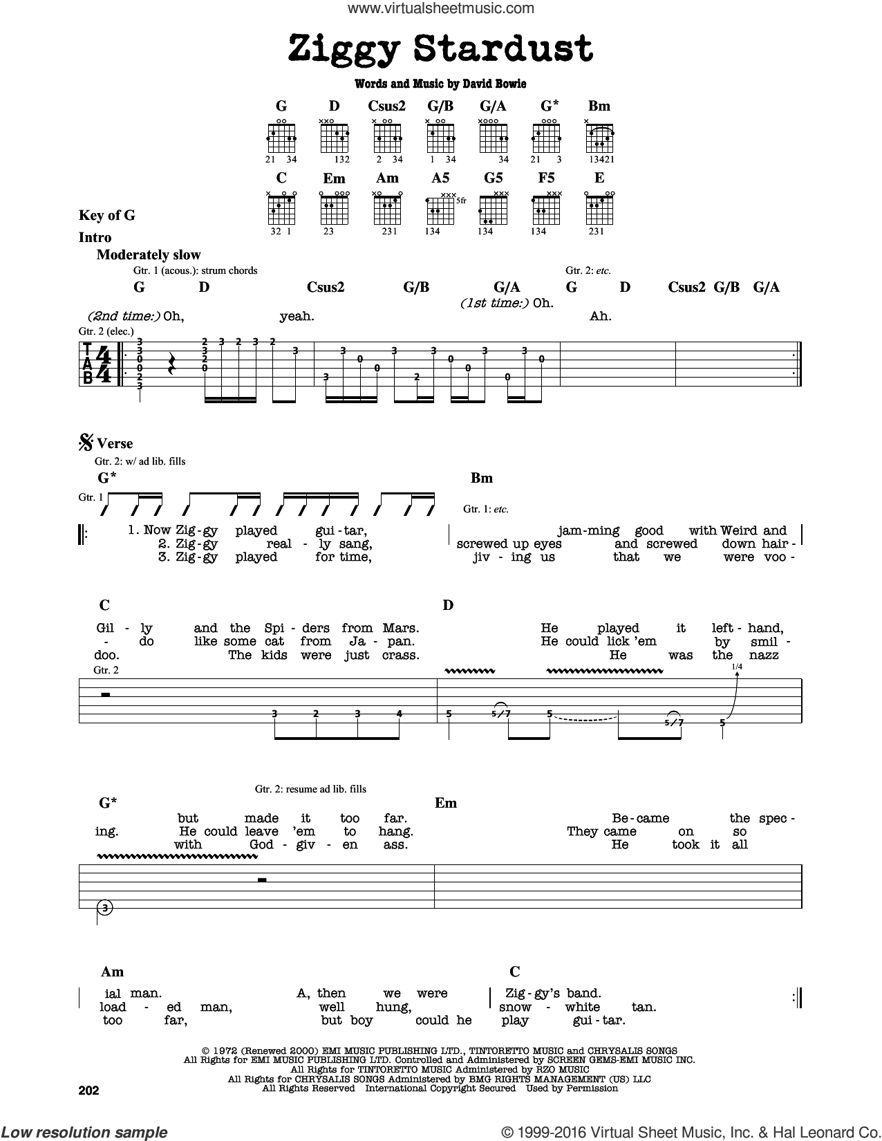 Ziggy Stardust sheet music for guitar solo (lead sheet) by David Bowie. Score Image Preview.