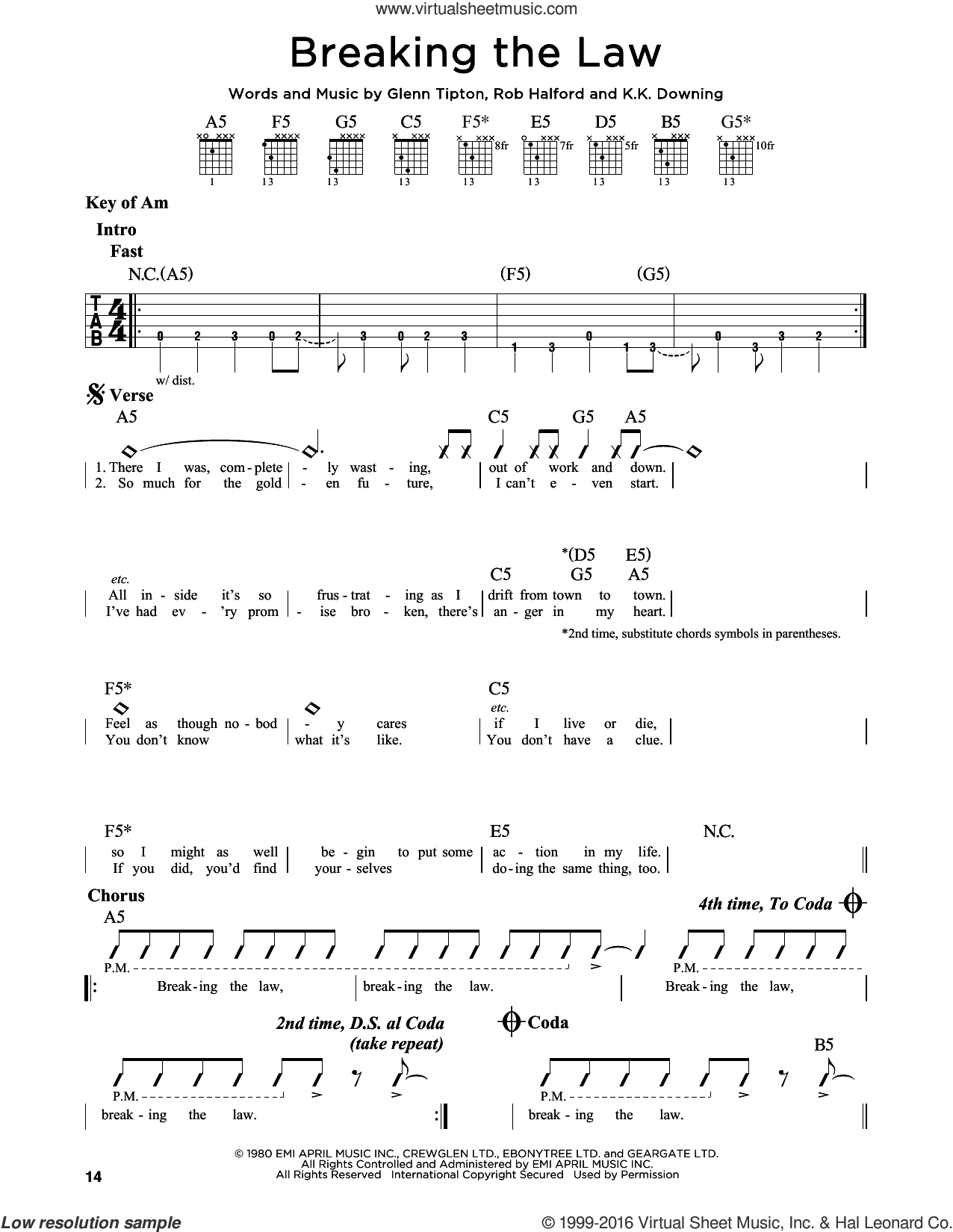 Breaking The Law sheet music for guitar solo (lead sheet) by Rob Halford and Judas Priest. Score Image Preview.