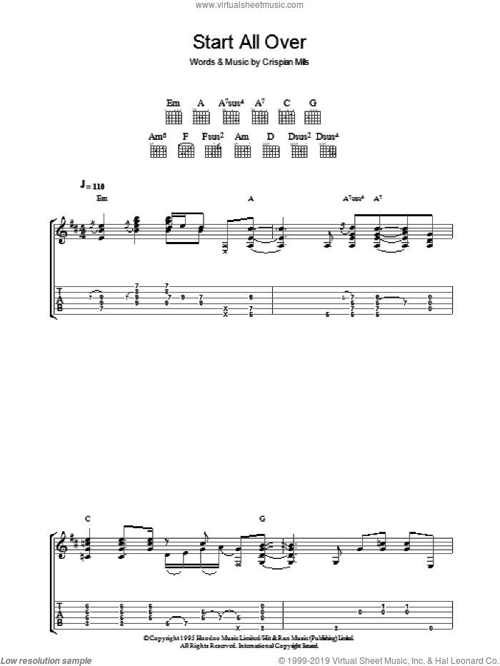 Start All Over sheet music for guitar (tablature) by Kula Shaker and Crispian Mills, intermediate. Score Image Preview.