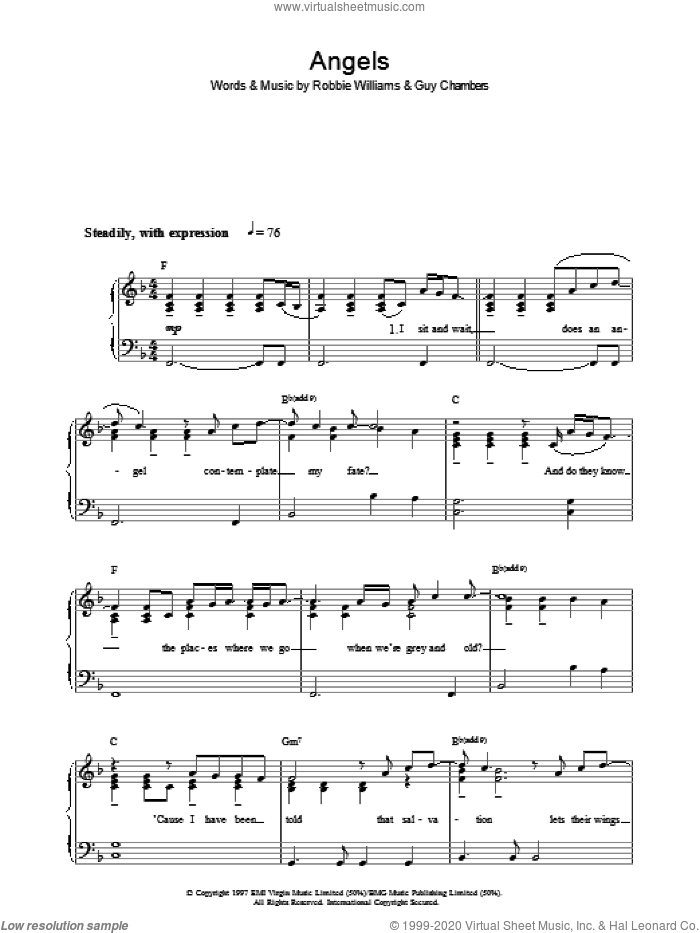 Angels sheet music for voice, piano or guitar by Guy Chambers and Robbie Williams. Score Image Preview.