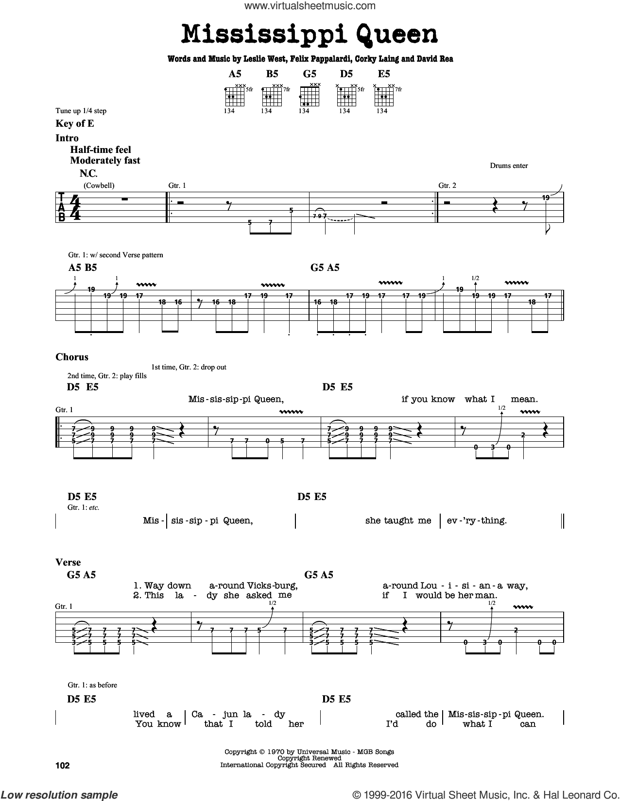 Mississippi Queen sheet music for guitar solo (lead sheet) by Leslie West. Score Image Preview.