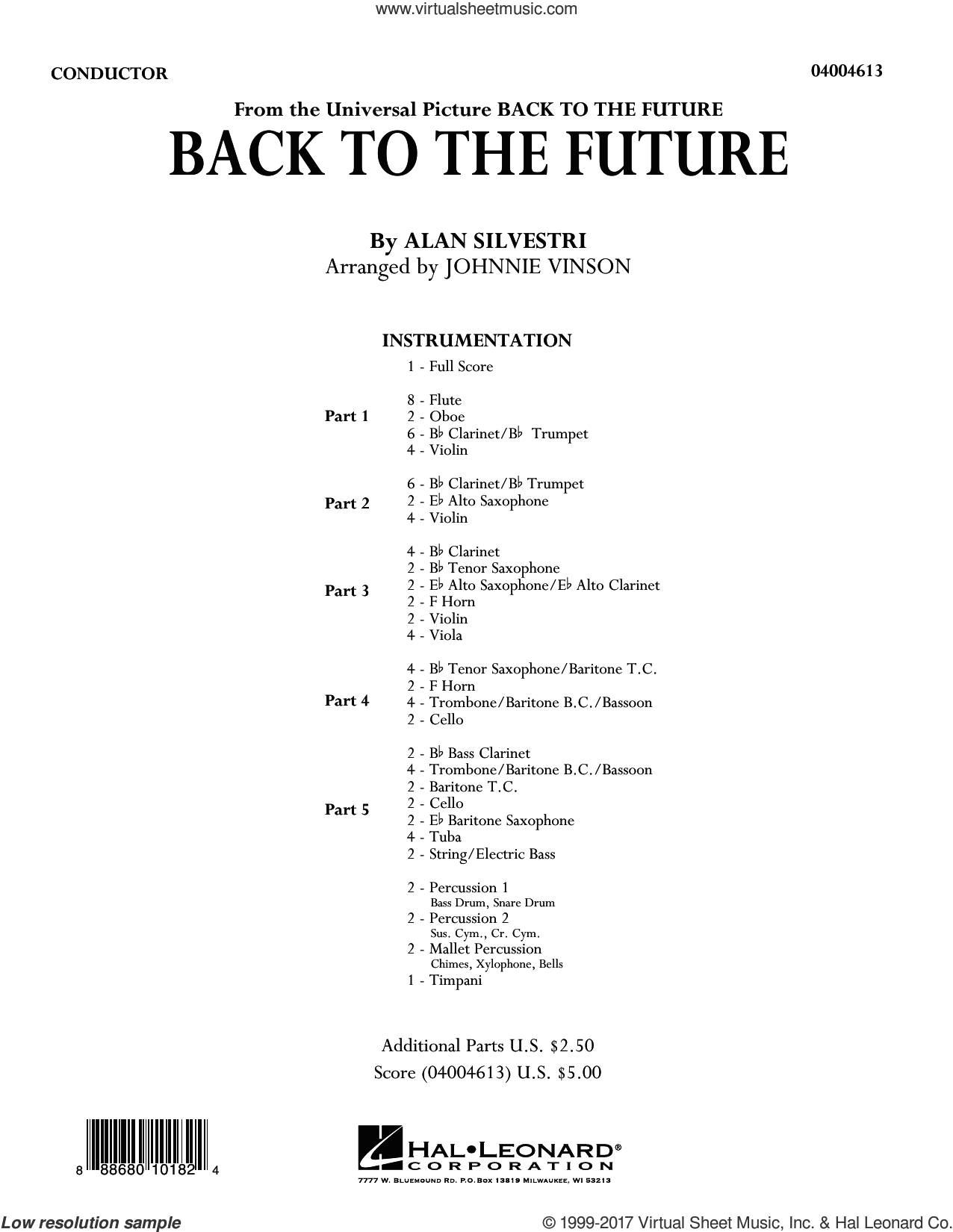 Back to the Future (Main Theme) (COMPLETE) sheet music for concert band by Johnnie Vinson and Alan Silvestri, intermediate concert band. Score Image Preview.