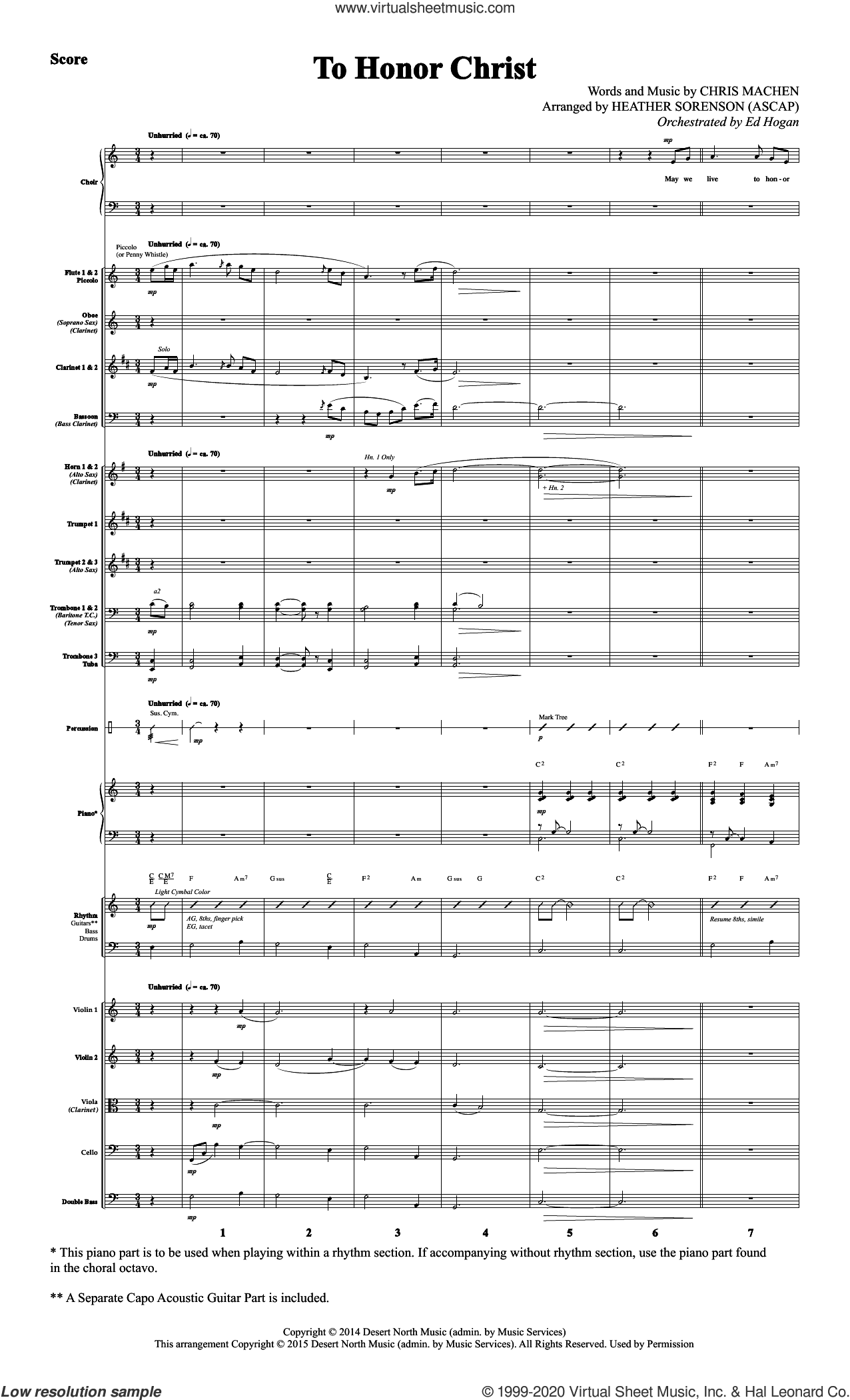 To Honor Christ (COMPLETE) sheet music for orchestra/band by Heather Sorenson and Chris Machen, intermediate skill level