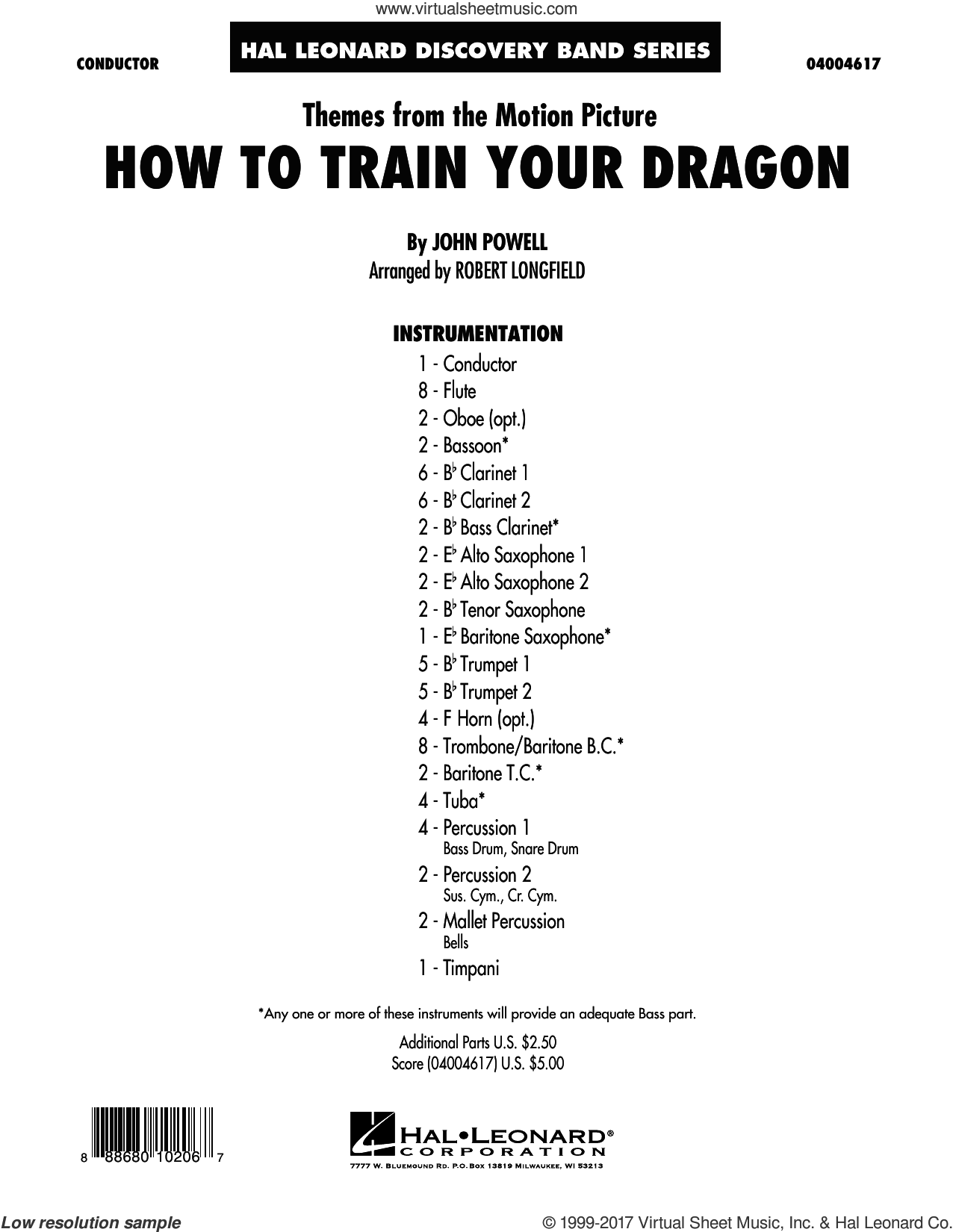 Themes from How to Train Your Dragon (COMPLETE) sheet music for concert band by Robert Longfield and John Powell, intermediate skill level