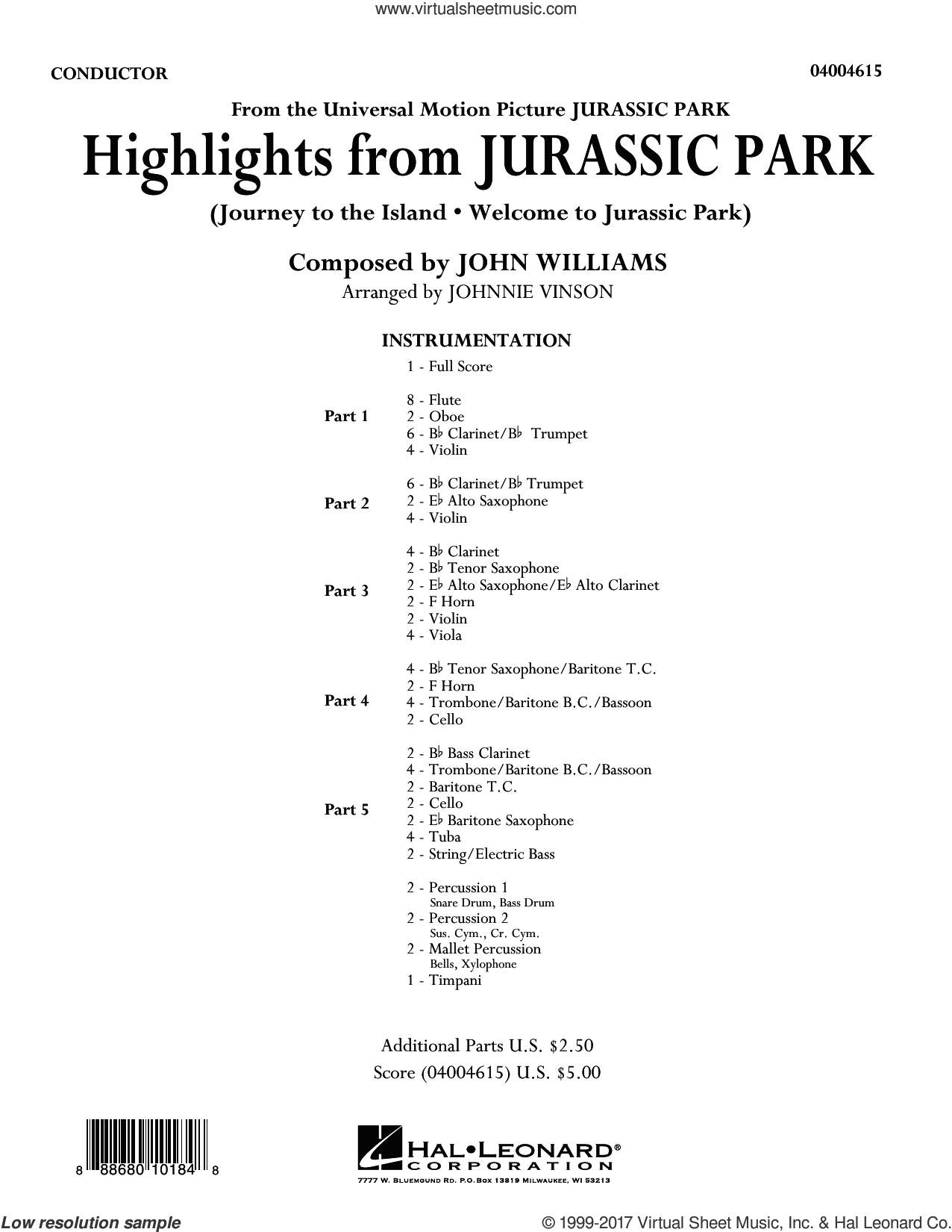 Highlights from Jurassic Park (COMPLETE) sheet music for concert band by Johnnie Vinson and John Williams, intermediate
