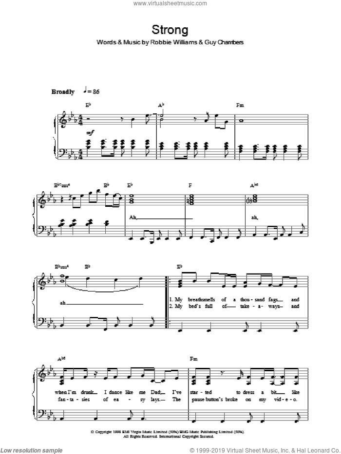 Strong sheet music for voice, piano or guitar by Robbie Williams. Score Image Preview.