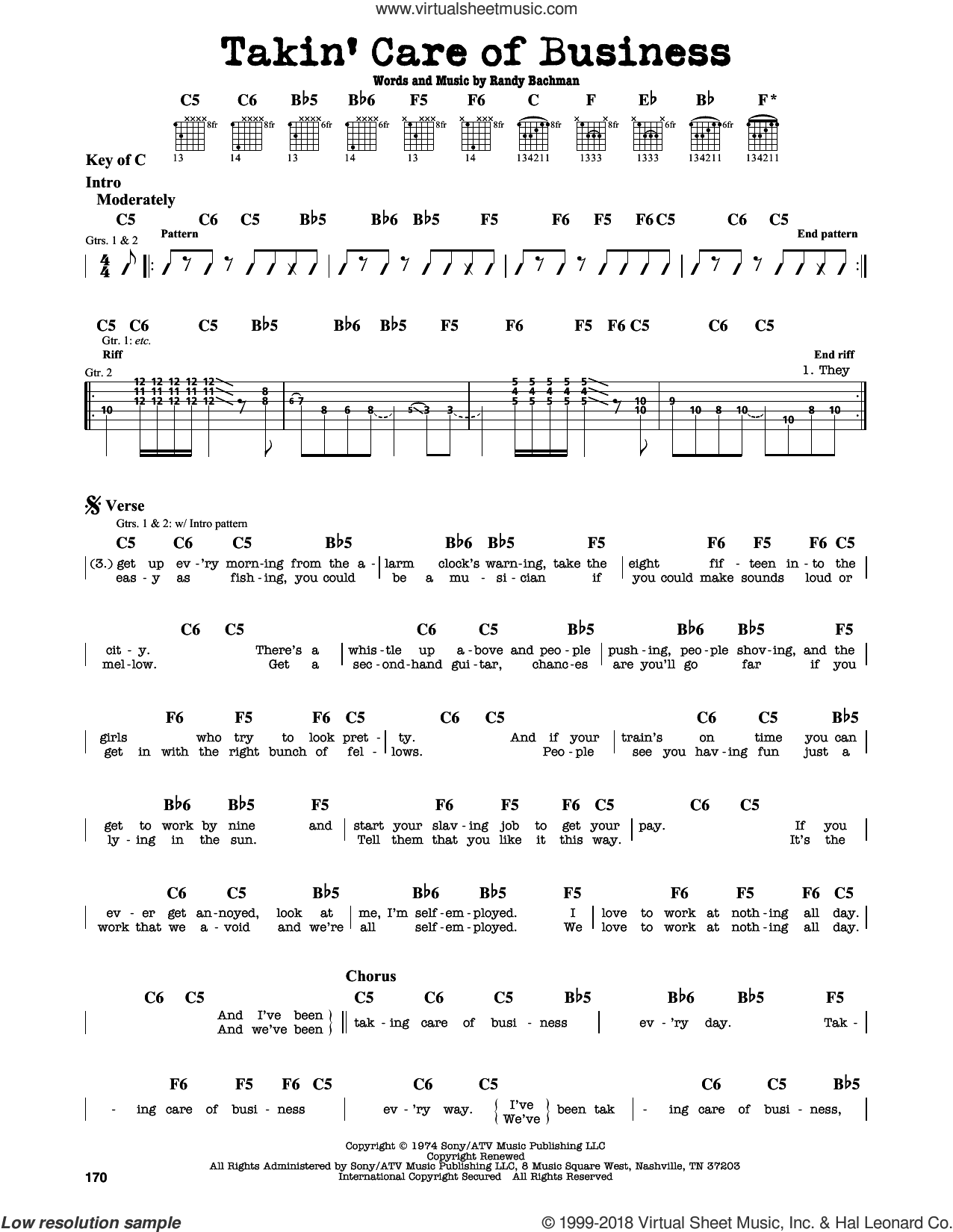 Takin' Care Of Business sheet music for guitar solo (lead sheet) by Randy Bachman. Score Image Preview.