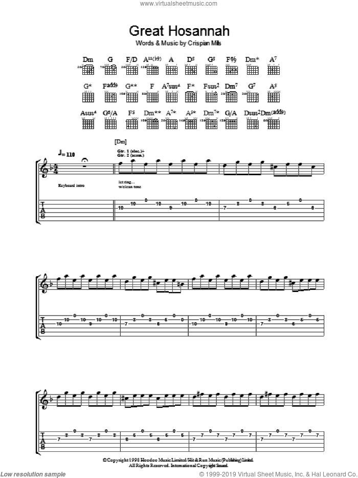 Great Hosannah sheet music for guitar (tablature) by Crispian Mills and Kula Shaker. Score Image Preview.