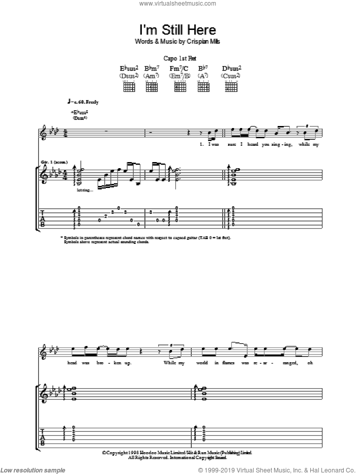 I'm Still Here sheet music for guitar (tablature) by Kula Shaker. Score Image Preview.