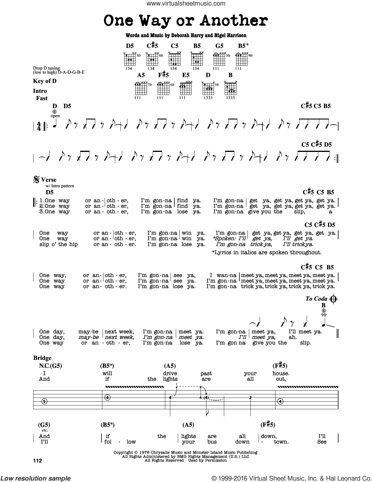 One Way Or Another sheet music for guitar solo (lead sheet) by Blondie. Score Image Preview.