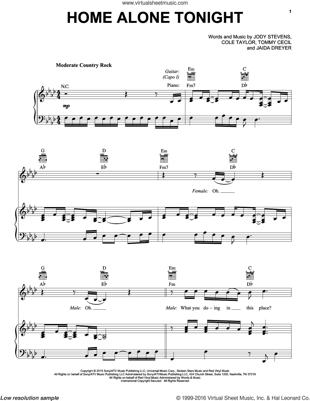 Home Alone Tonight sheet music for voice, piano or guitar by Tommy Cecil and Luke Bryan. Score Image Preview.