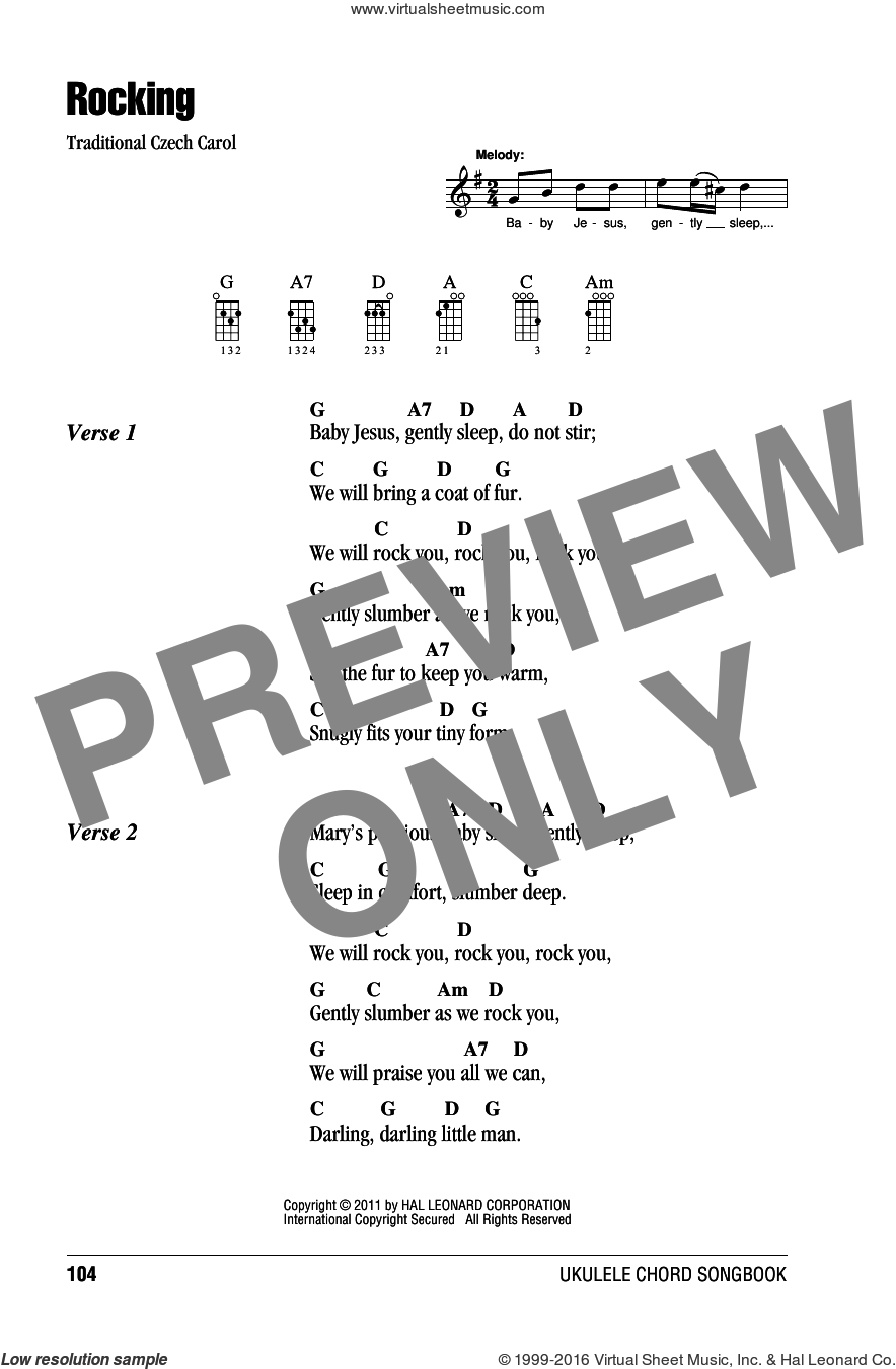 Rocking sheet music for ukulele (chords). Score Image Preview.