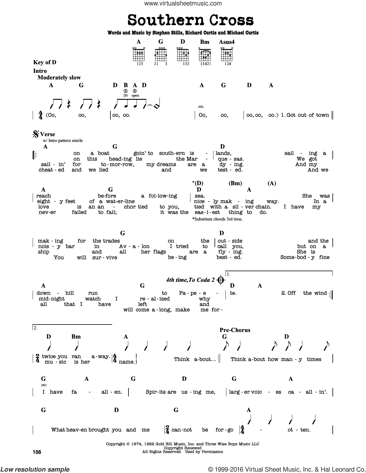 Southern Cross sheet music for guitar solo (lead sheet) by Crosby, Stills & Nash and Stephen Stills, intermediate guitar (lead sheet). Score Image Preview.