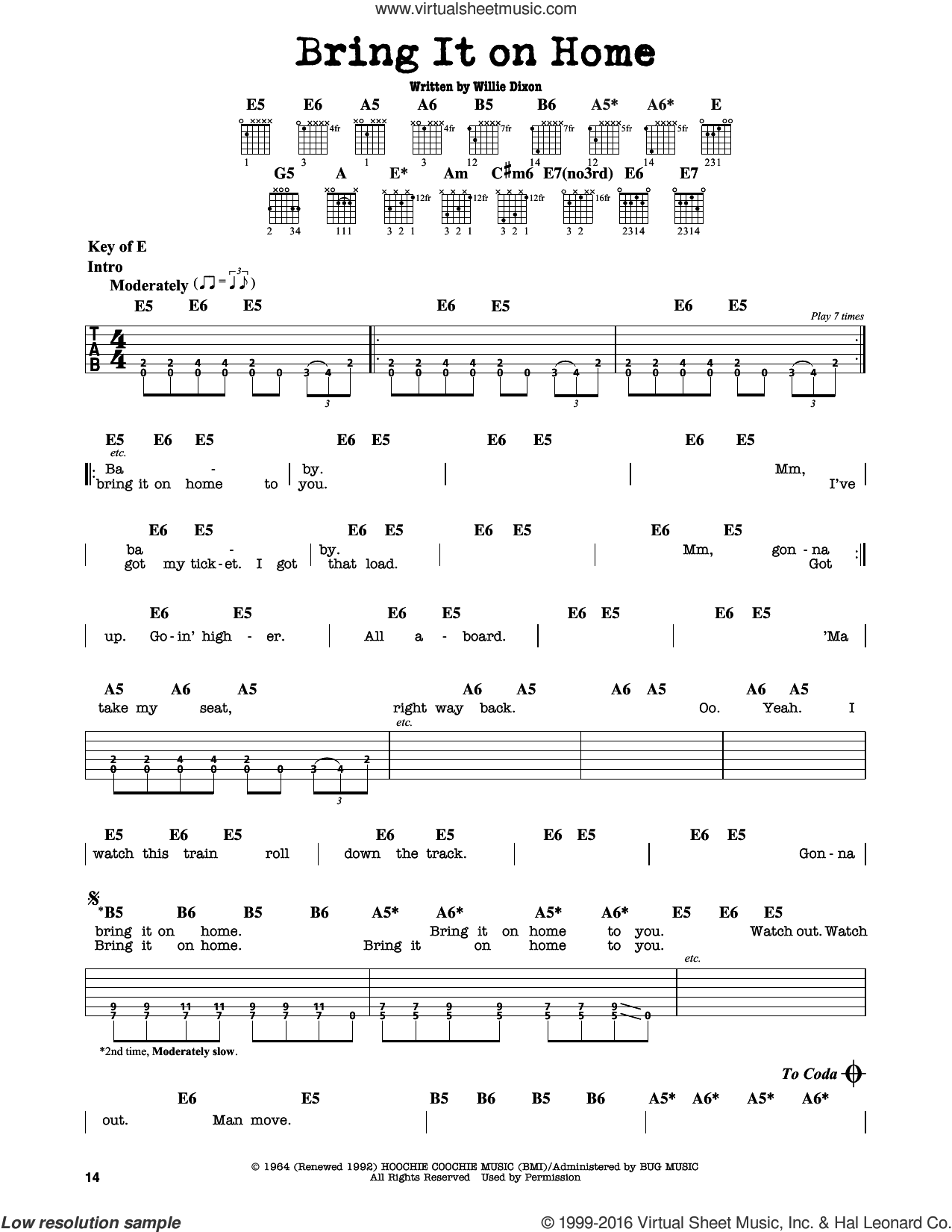 Bring It On Home sheet music for guitar solo (lead sheet) by Sonny Boy Williamson and Willie Dixon. Score Image Preview.