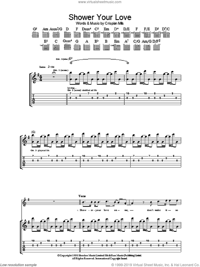 Shower Your Love sheet music for guitar (tablature) by Kula Shaker. Score Image Preview.
