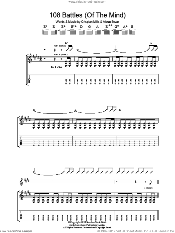 108 Battles (Of The Mind) sheet music for guitar (tablature) by Crispian Mills, Kula Shaker and Alonza Bevan. Score Image Preview.