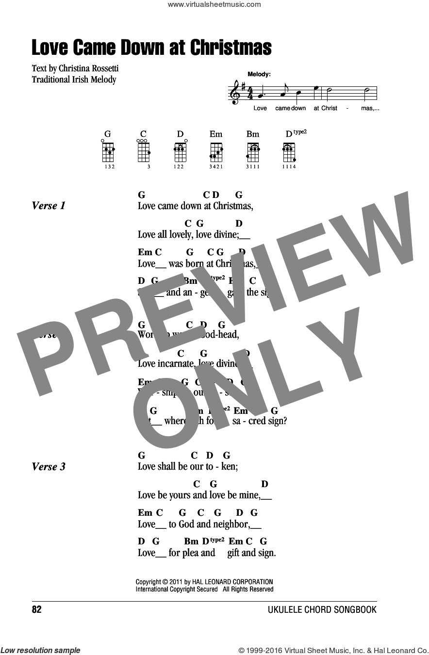 Love Came Down At Christmas sheet music for ukulele (chords)  and Christina Rossetti. Score Image Preview.