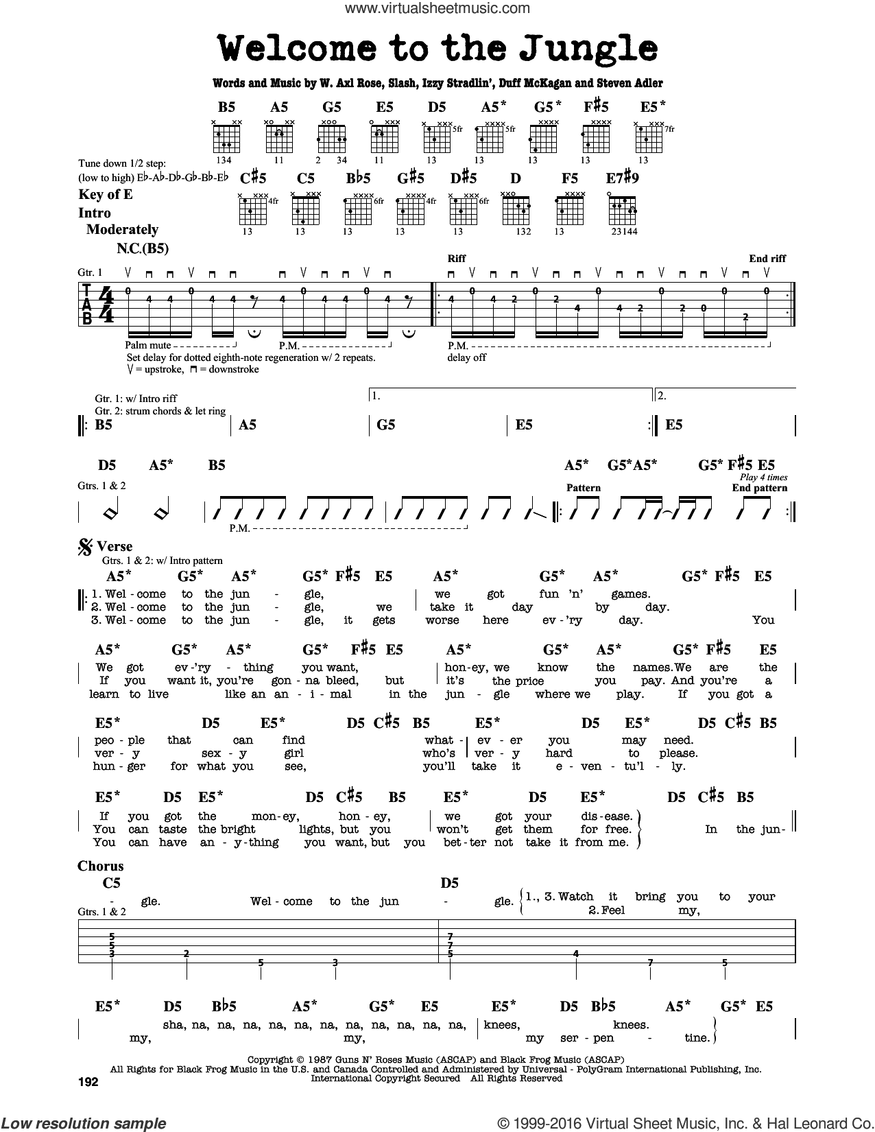 Welcome To The Jungle sheet music for guitar solo (lead sheet) by Guns N' Roses, Axl Rose, Duff McKagan, Slash and Steven Adler, intermediate guitar (lead sheet)