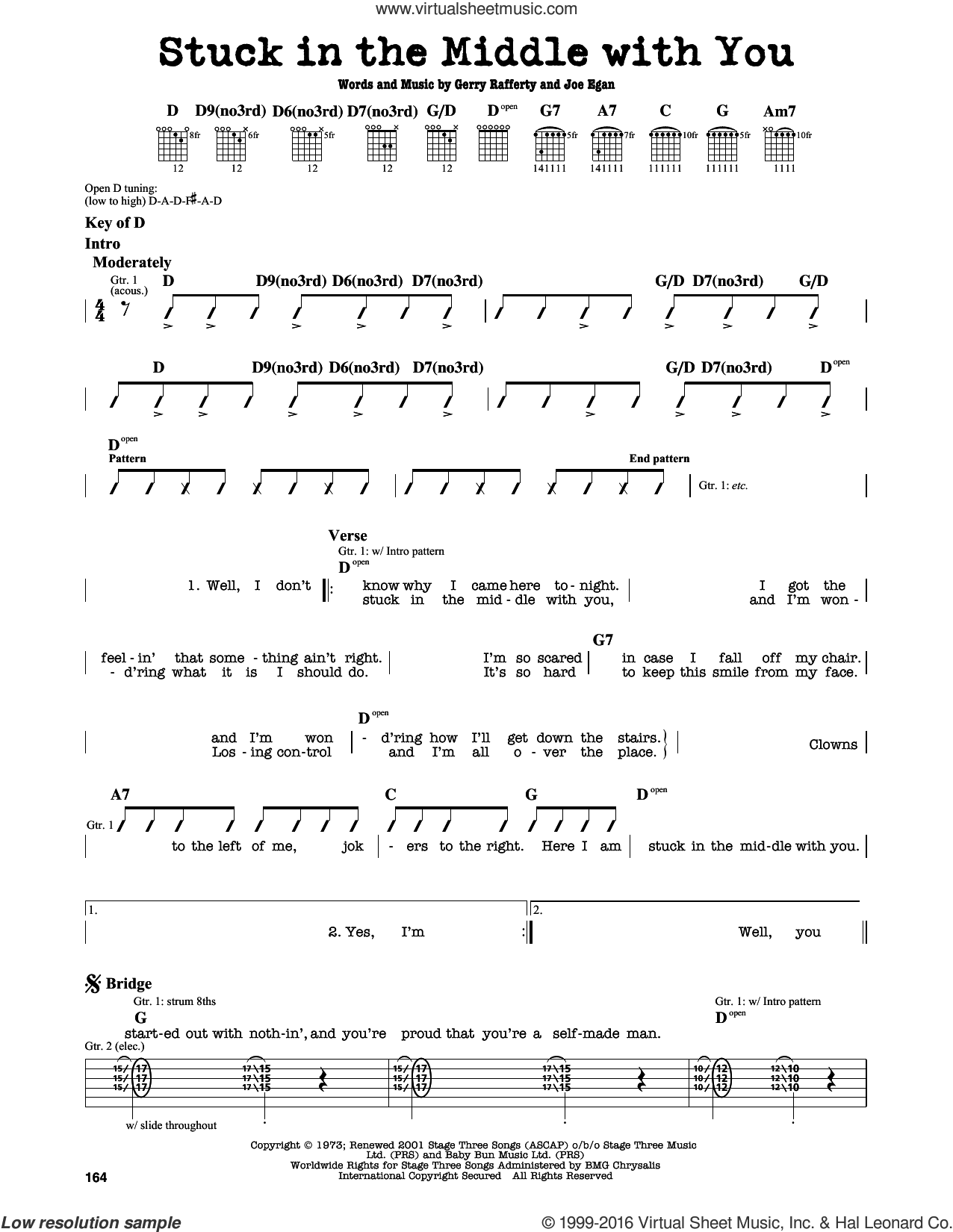 Stuck In The Middle With You sheet music for guitar solo (lead sheet) by Stealers Wheel, Gerry Rafferty and Joe Egan, intermediate guitar (lead sheet). Score Image Preview.