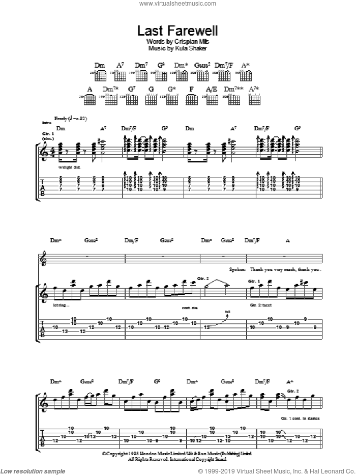 Last Farewell sheet music for guitar (tablature) by Kula Shaker, intermediate guitar (tablature). Score Image Preview.