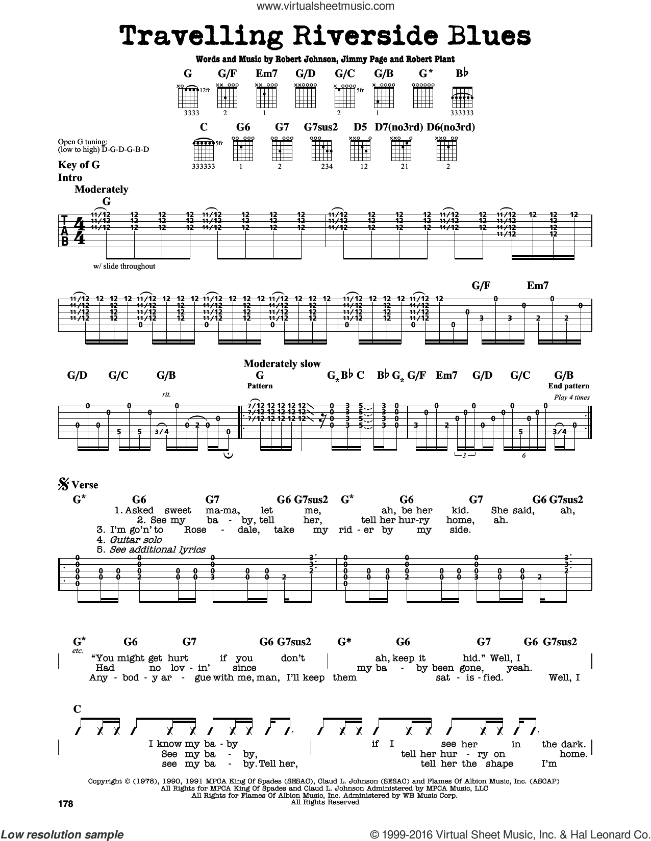 Travelling Riverside Blues sheet music for guitar solo (lead sheet) by Robert Plant, Led Zeppelin, Jimmy Page and Robert Johnson. Score Image Preview.
