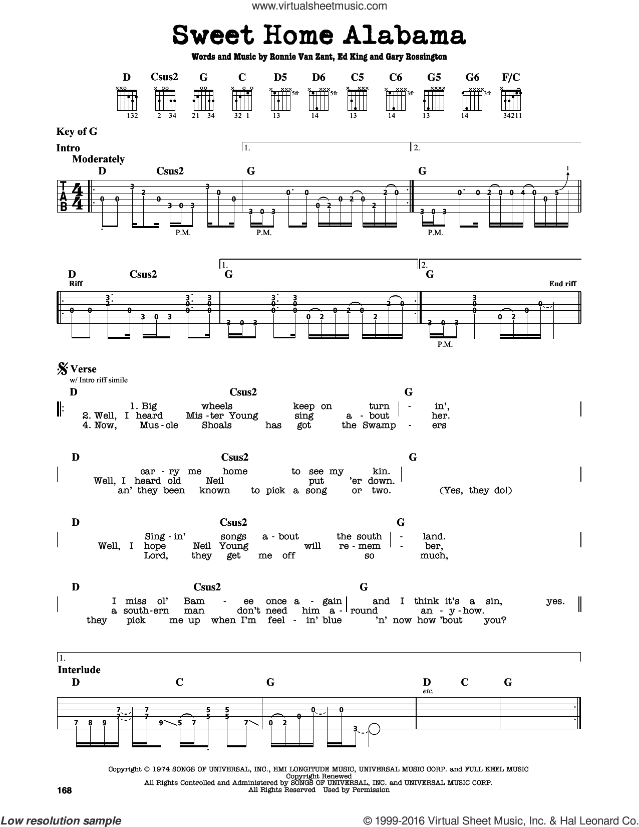 Sweet Home Alabama sheet music for guitar solo (lead sheet) by Ronnie Van Zant, Alabama, Lynyrd Skynyrd, Edward King and Gary Rossington. Score Image Preview.