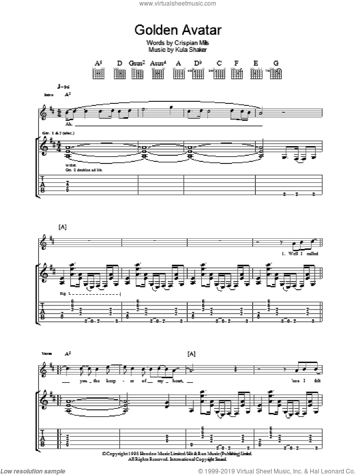 Golden Avatar sheet music for guitar (tablature) by Kula Shaker. Score Image Preview.
