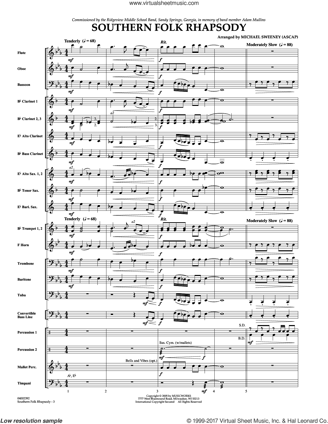Southern Folk Rhapsody (COMPLETE) sheet music for concert band by Michael Sweeney, intermediate skill level
