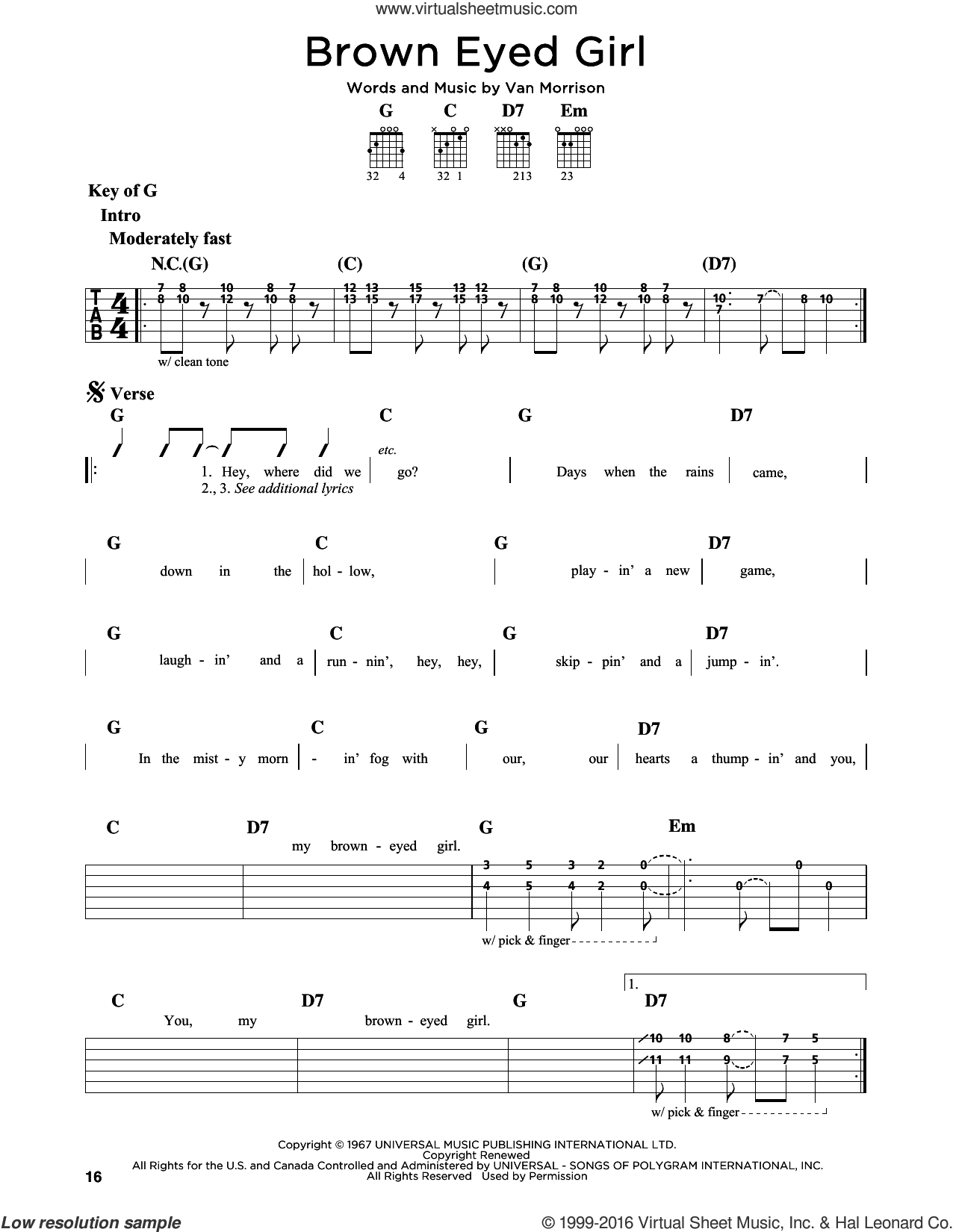 Brown Eyed Girl sheet music for guitar solo (lead sheet) by Van Morrison. Score Image Preview.