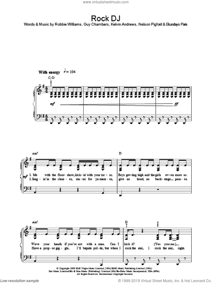 Rock DJ sheet music for voice, piano or guitar by Nelson Pigford, Robbie Williams, Guy Chambers and Kelvin Andrews