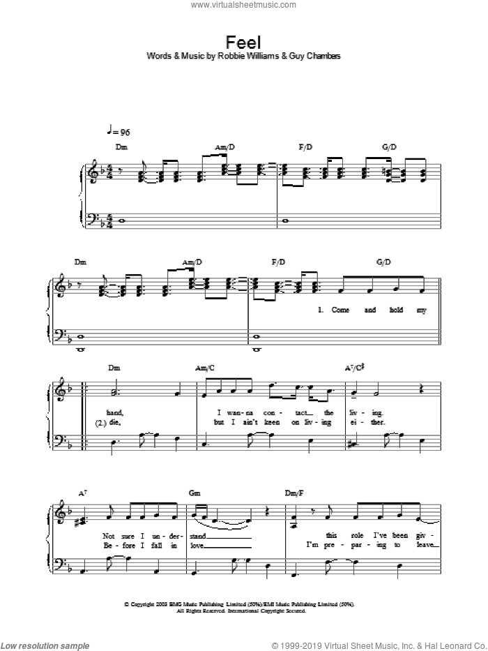 Feel sheet music for voice, piano or guitar by Guy Chambers and Robbie Williams. Score Image Preview.