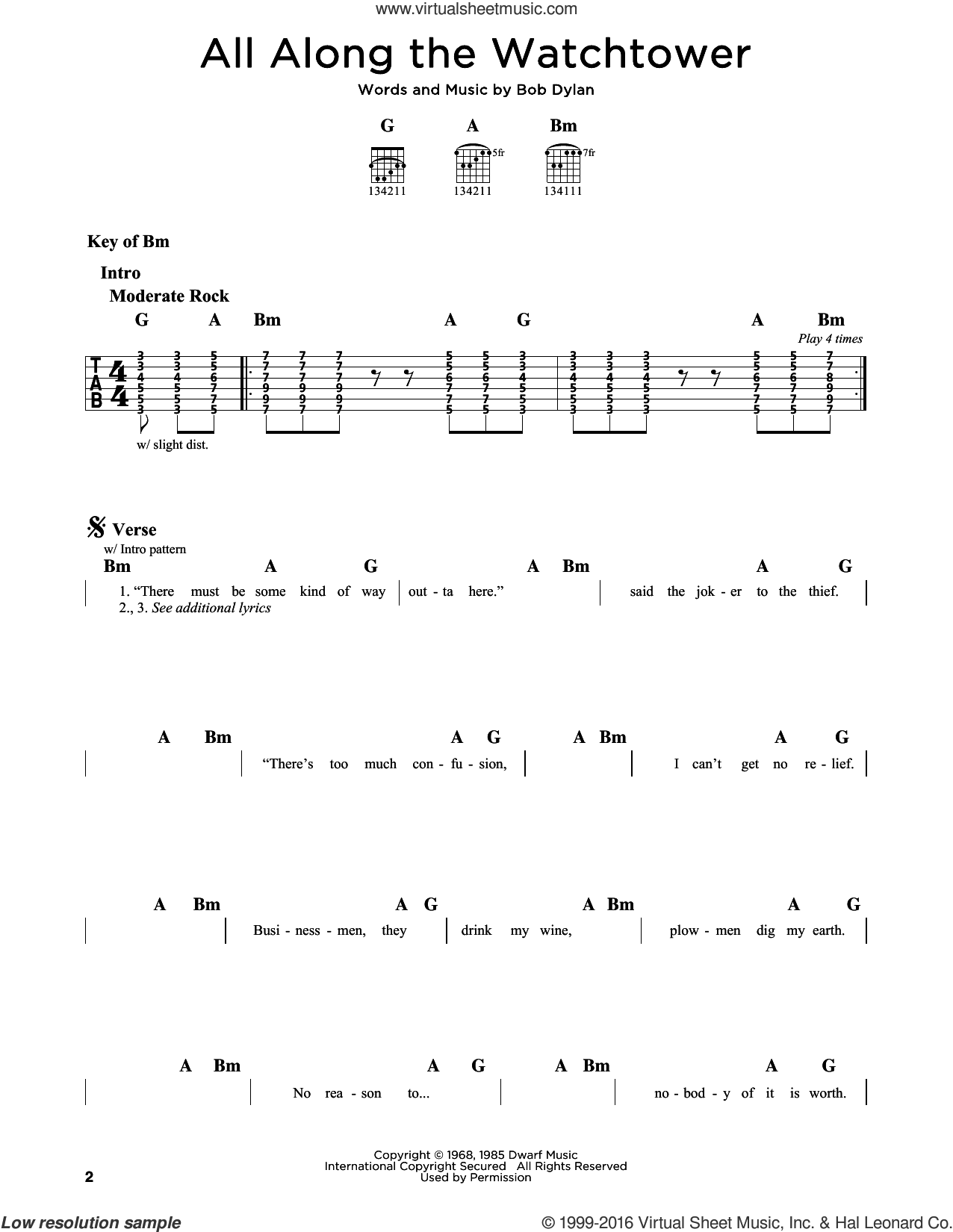 All Along The Watchtower sheet music for guitar solo (lead sheet) by Bob Dylan, The Jimi Hendrix Experience and U2, intermediate guitar (lead sheet)