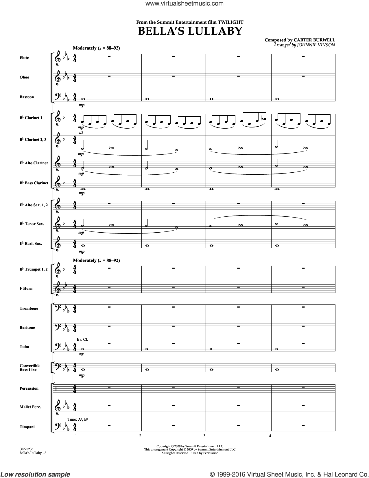 Bella's Lullaby (from Twilight) sheet music for concert band (full score) by Carter Burwell and Johnnie Vinson, intermediate. Score Image Preview.