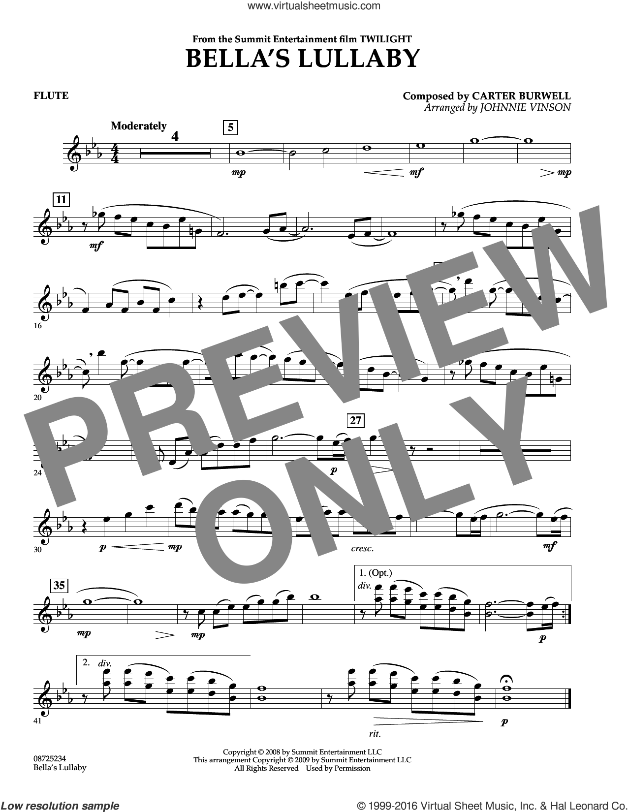 Bella's Lullaby (from Twilight) sheet music for concert band (flute) by Carter Burwell and Johnnie Vinson, intermediate. Score Image Preview.