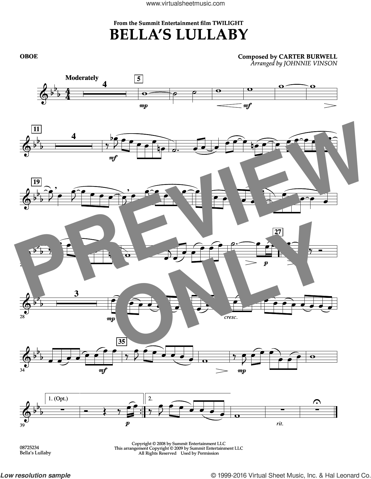 Bella's Lullaby (from Twilight) sheet music for concert band (oboe) by Carter Burwell and Johnnie Vinson, intermediate. Score Image Preview.