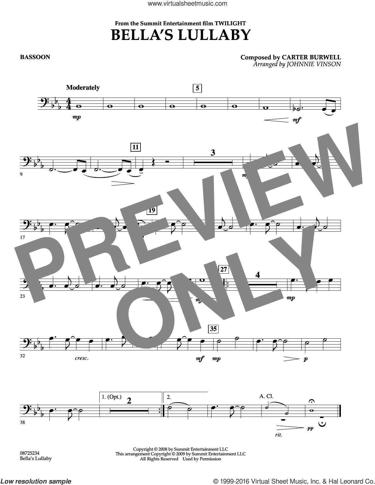 Bella's Lullaby (from Twilight) sheet music for concert band (bassoon) by Carter Burwell and Johnnie Vinson, intermediate skill level