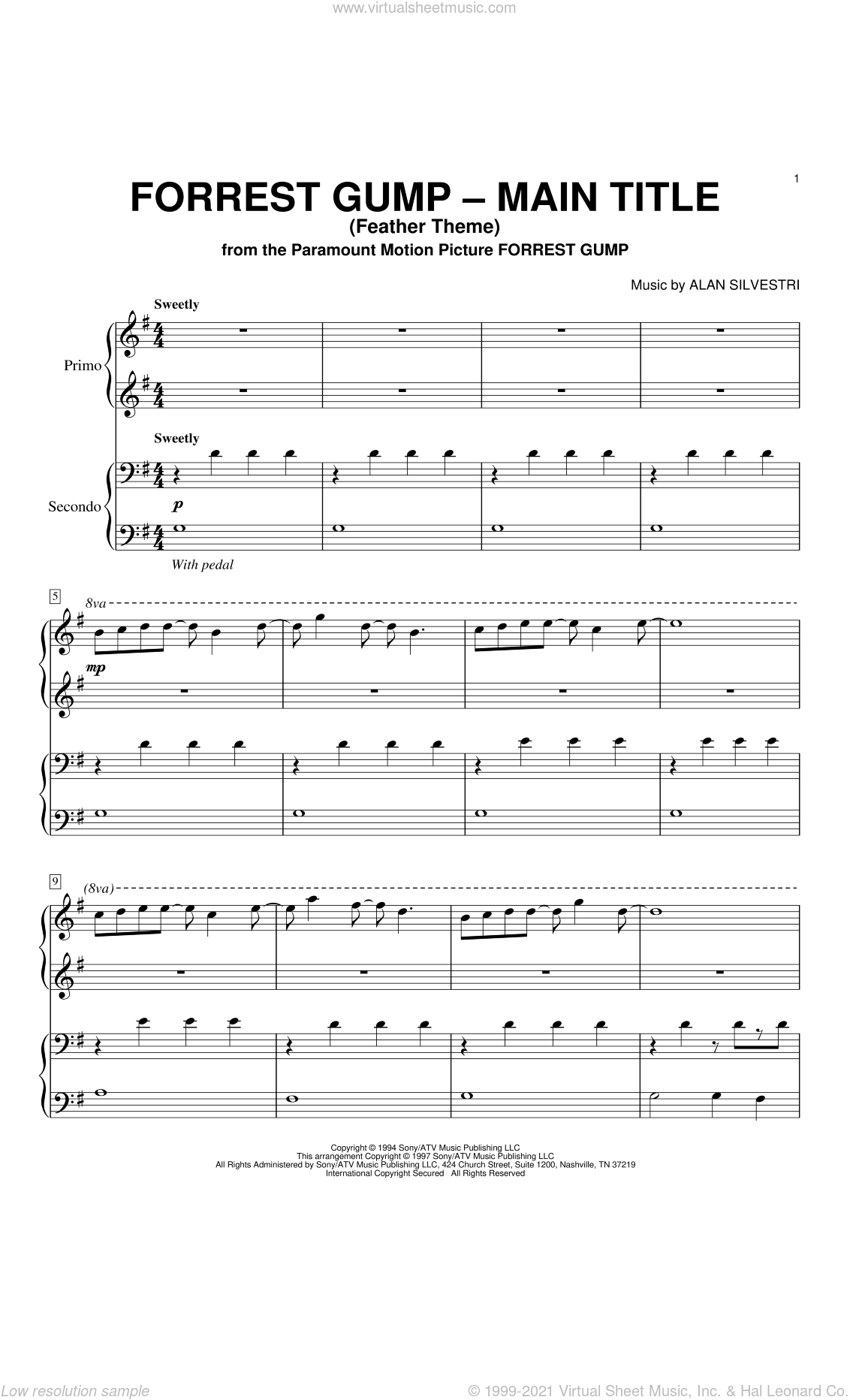 Forrest Gump - Main Title (Feather Theme) sheet music for piano four hands by Alan Silvestri, intermediate skill level