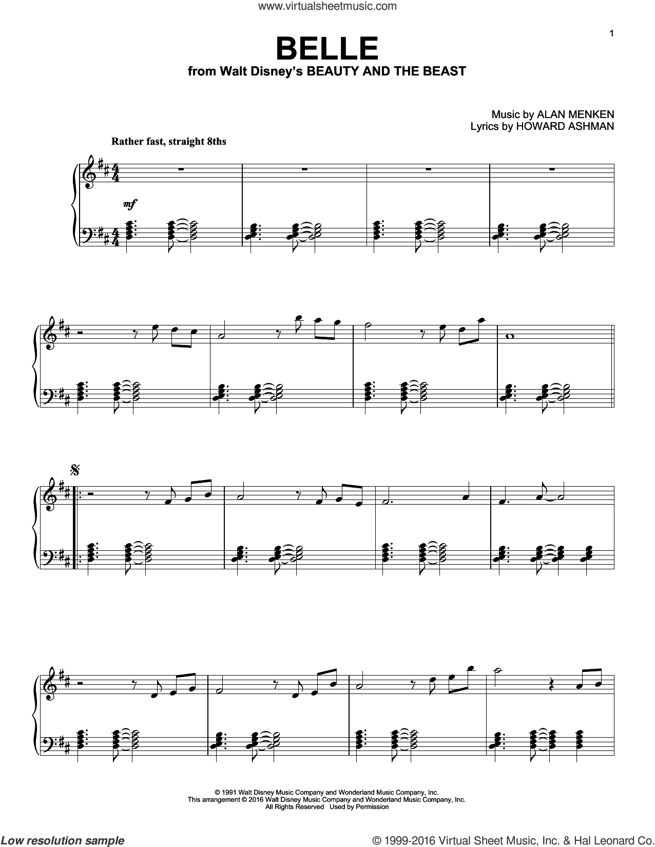 Belle [Jazz version] (from Beauty And The Beast) sheet music for piano solo by Alan Menken and Howard Ashman, intermediate skill level