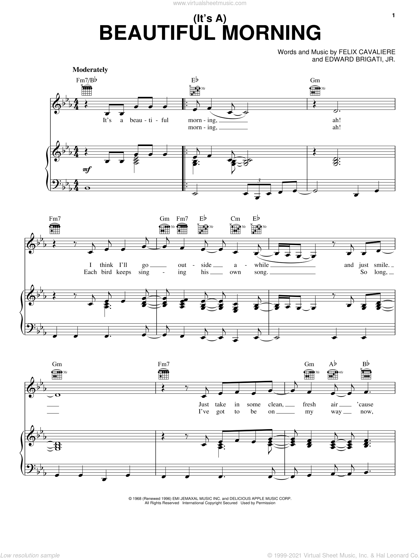 (It's A) Beautiful Morning sheet music for voice, piano or guitar by Felix Cavaliere and The Rascals