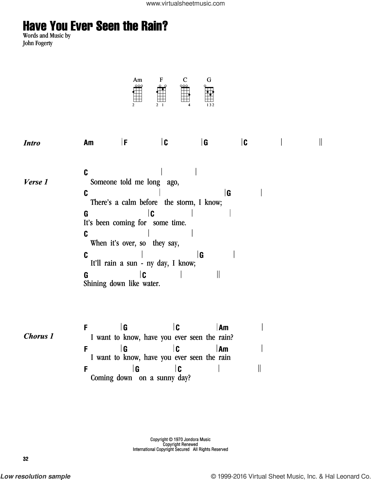 Have You Ever Seen The Rain? sheet music for ukulele (chords) by Creedence Clearwater Revival and John Fogerty, intermediate. Score Image Preview.