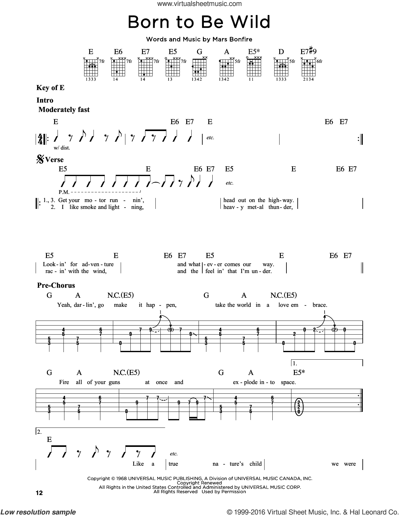Born To Be Wild sheet music for guitar solo (lead sheet) by Steppenwolf and Mars Bonfire, intermediate guitar (lead sheet). Score Image Preview.
