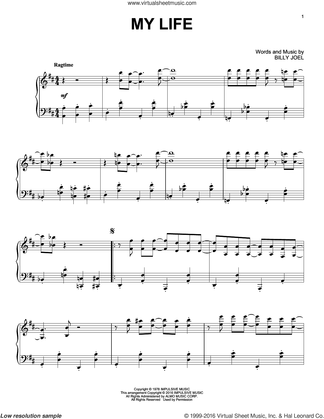 My Life sheet music for piano solo by Billy Joel. Score Image Preview.