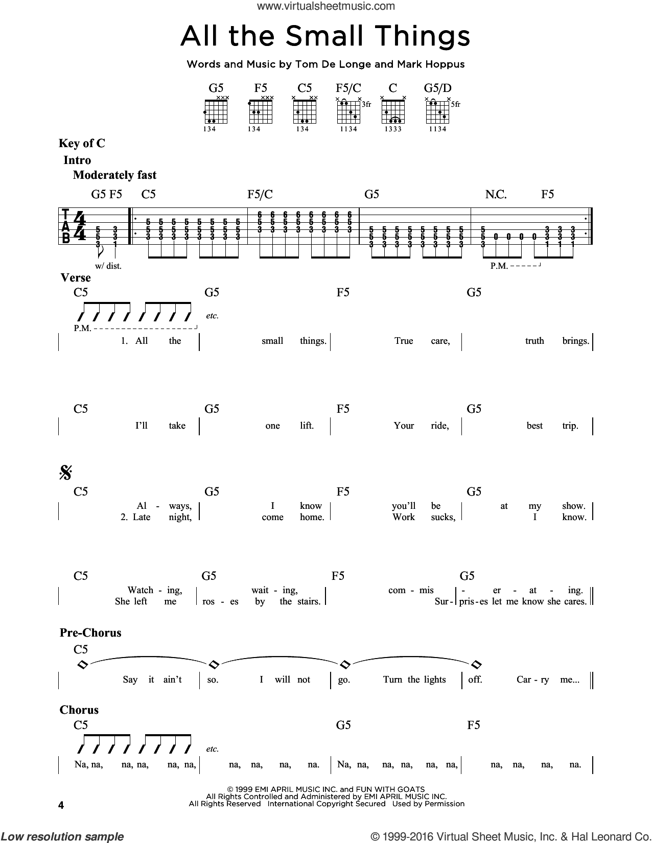 All The Small Things sheet music for guitar solo (lead sheet) by Blink 182, Mark Hoppus, Tom DeLonge and Travis Barker, intermediate guitar (lead sheet)