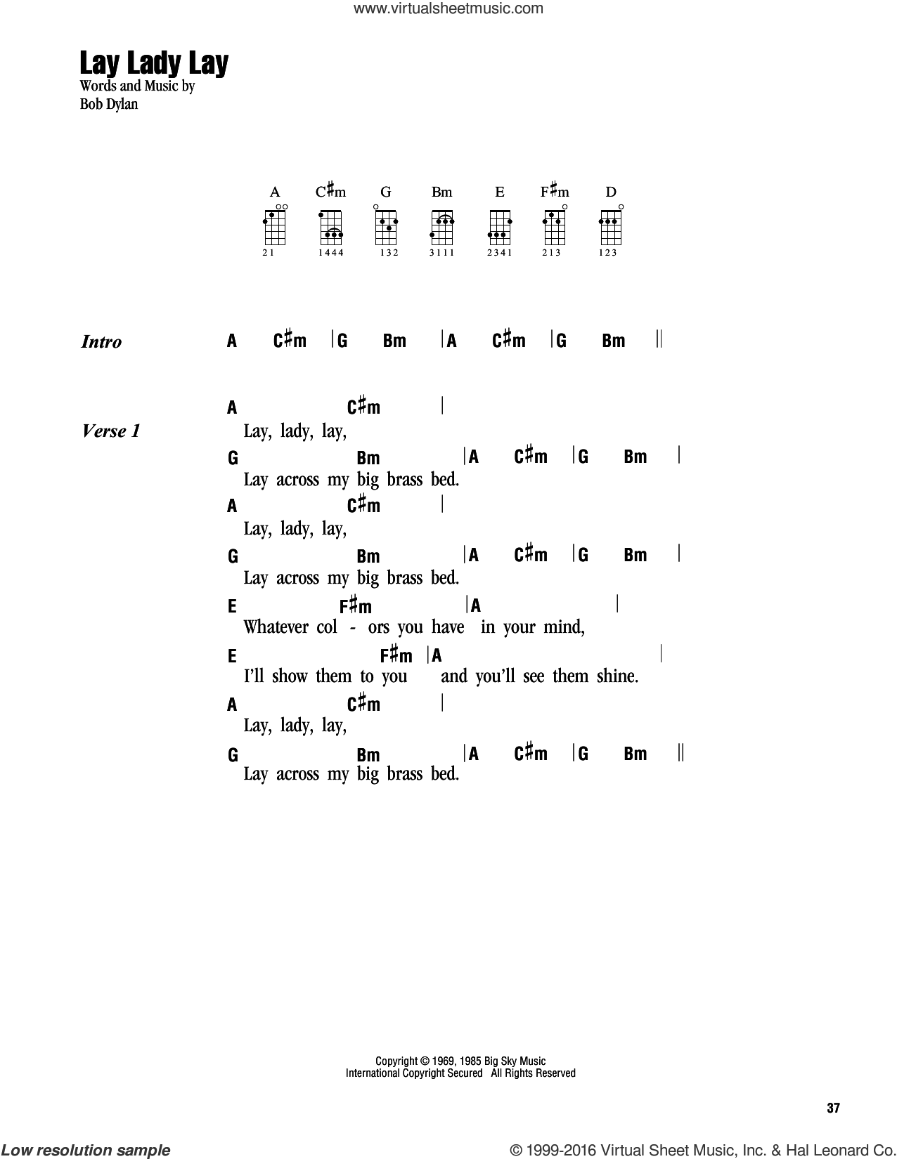 Lay, Lady, Lay sheet music for ukulele (chords) by Bob Dylan. Score Image Preview.